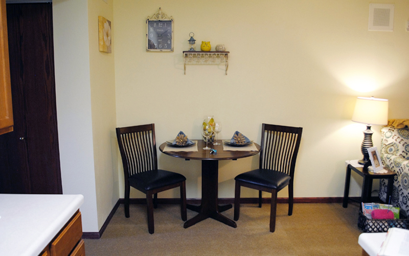 Living Room Model Apartment Dining Area